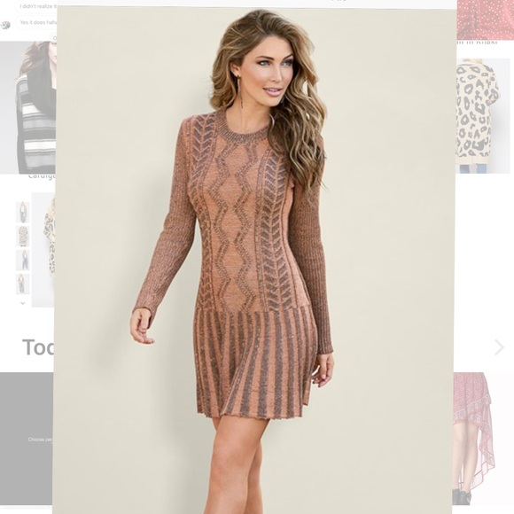 aebac74496e Venus Brown multi stitch sweater dress